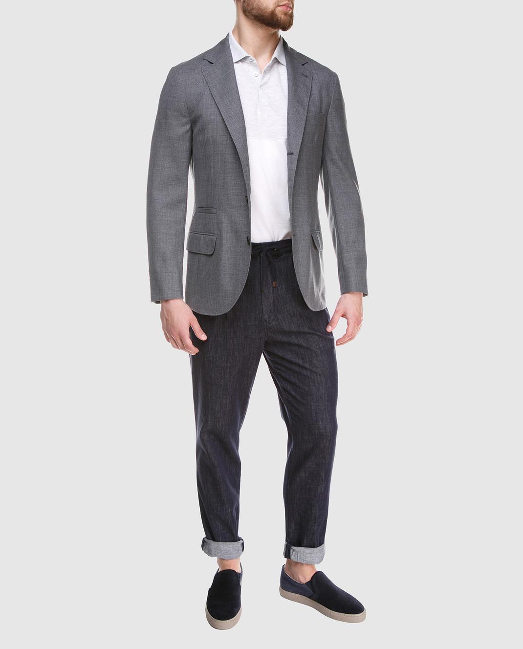 Brunello Cucinelli Серый пиджак из шерсти MF4237BTD изображение 2