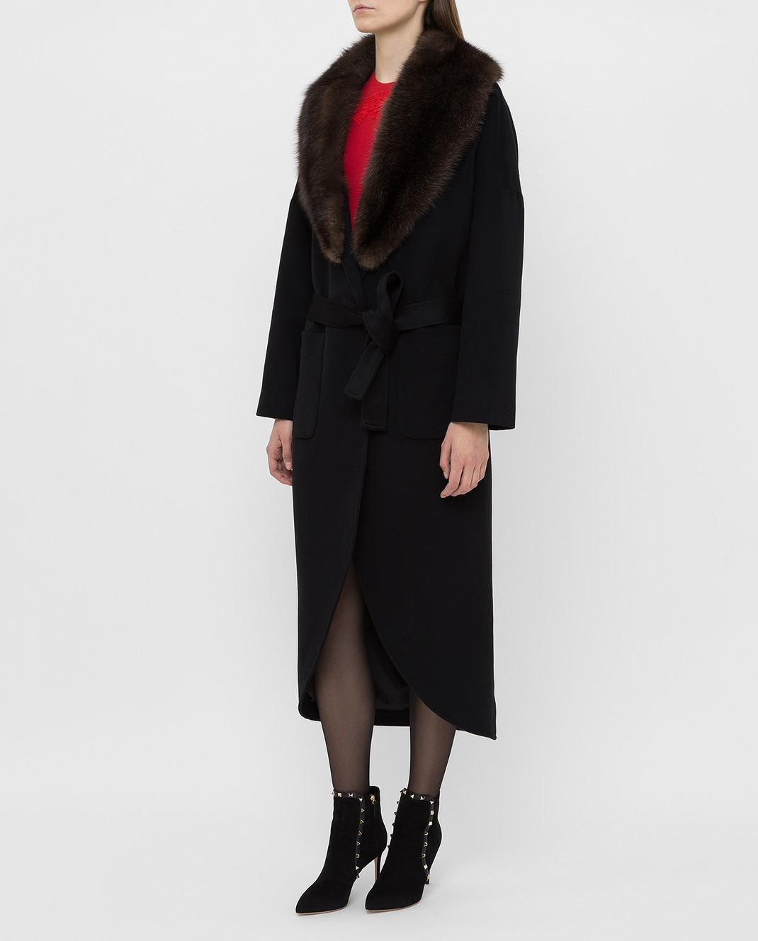 Real Furs House Черное пальто из кашемира с мехом соболя GT02 изображение 3