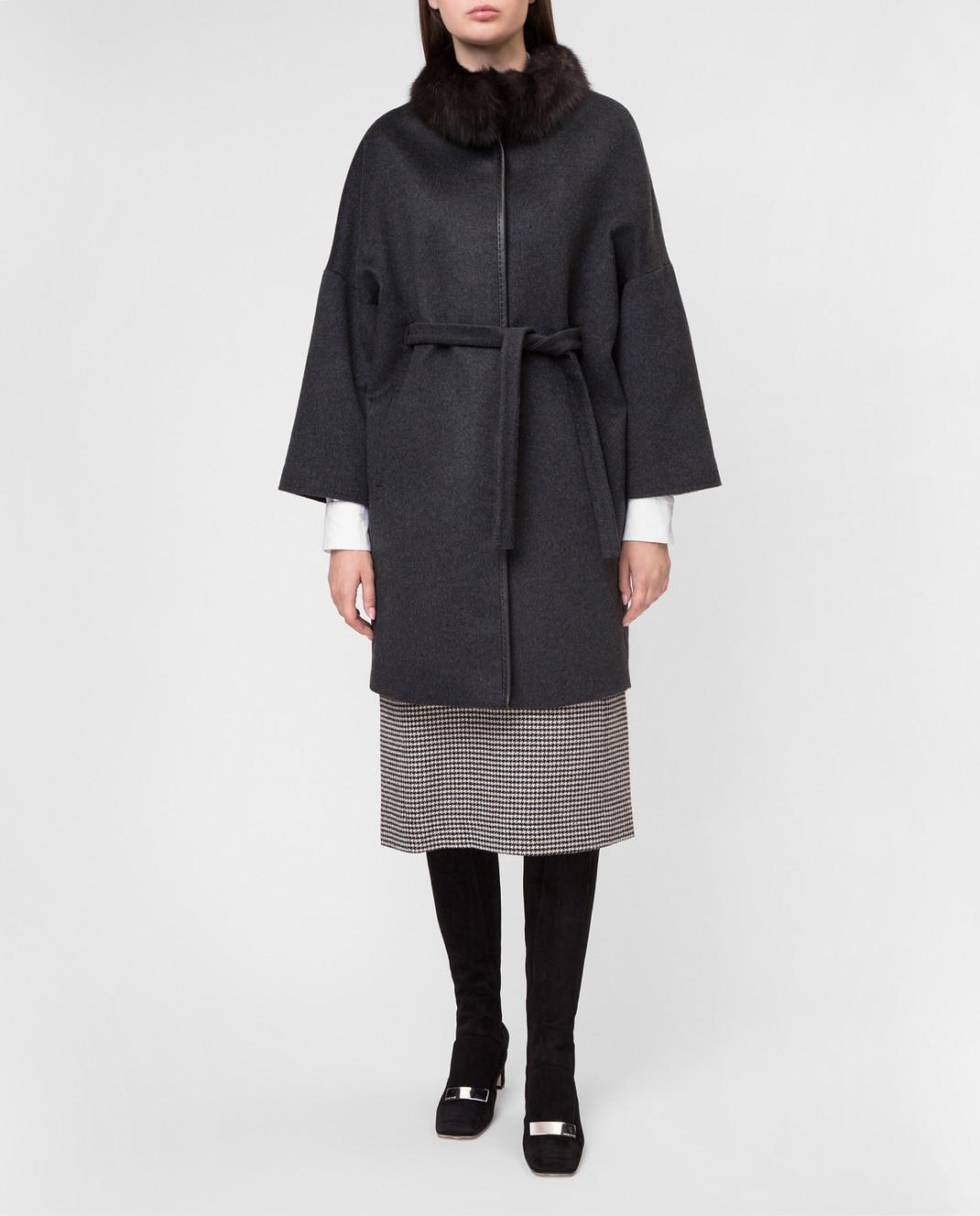 Real Furs House Темно-серое пальто CSR7177 изображение 2