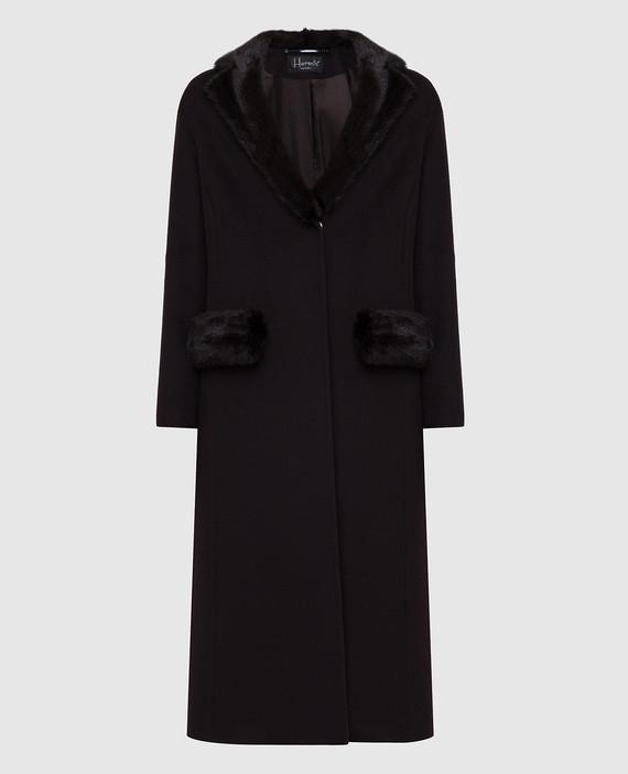 Темно-коричневое пальто с мехом норки
