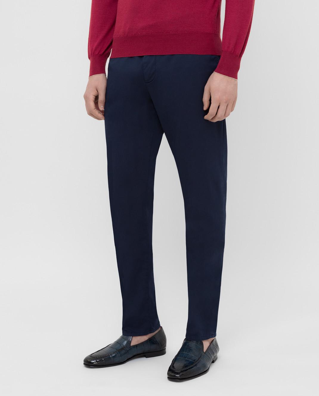 Brunello Cucinelli Темно-синие брюки с карманами M289LT1150 изображение 3