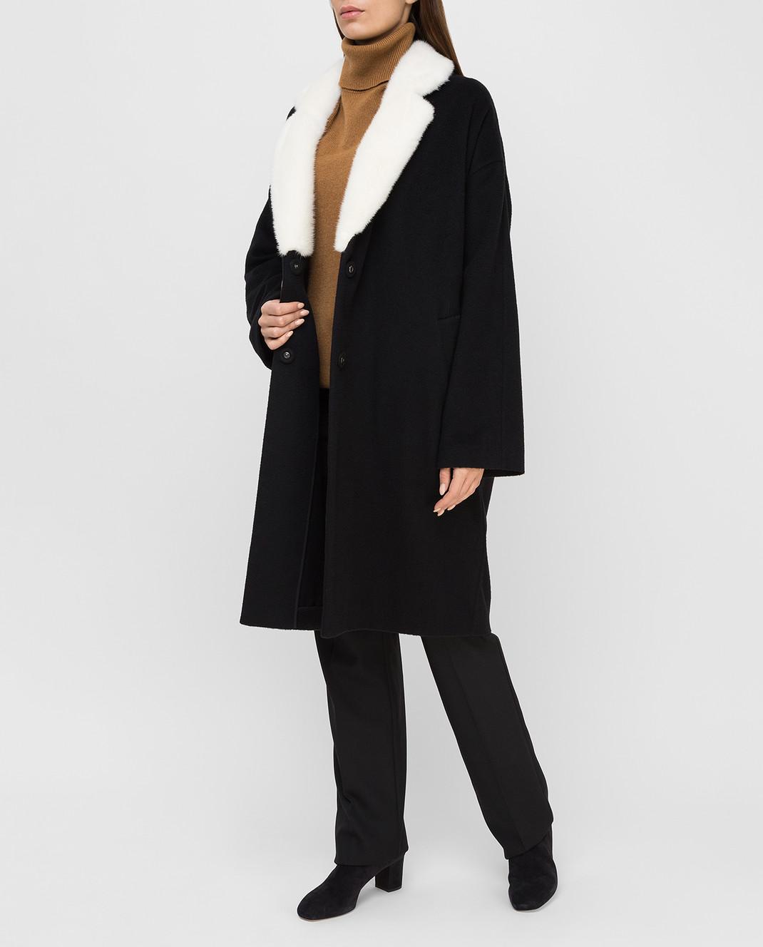Via Cappella Черное пальто из кашемира с мехом норки C1017CASHMEREBLCOLLARM изображение 2