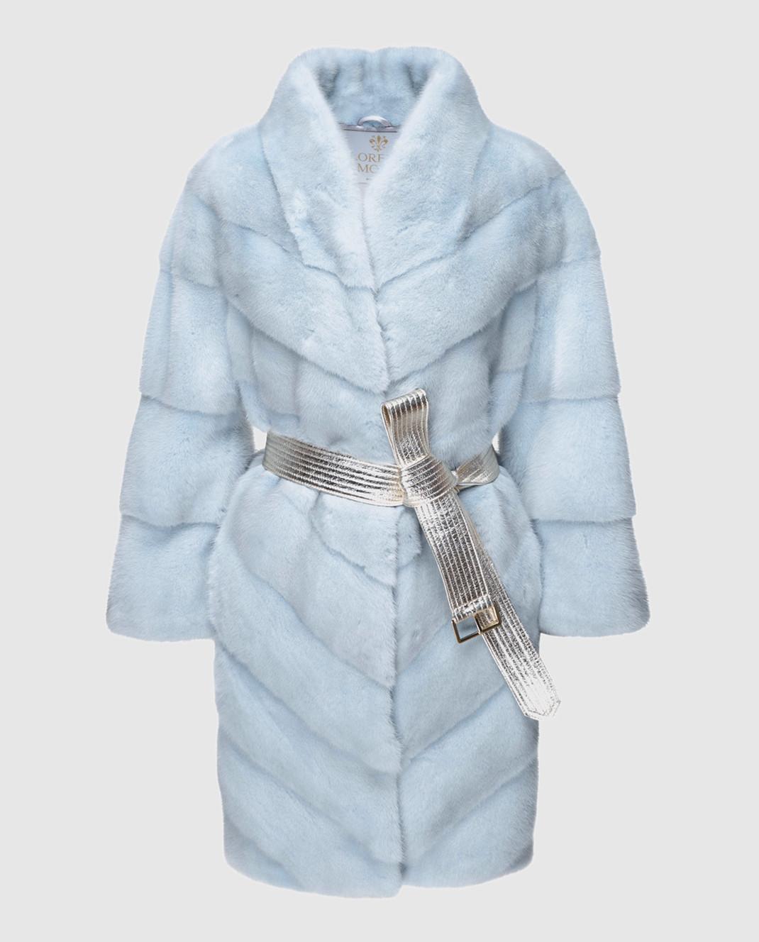 Florence Mode Светло-голубая шуба из меха норки с поясом 18N139PERLA