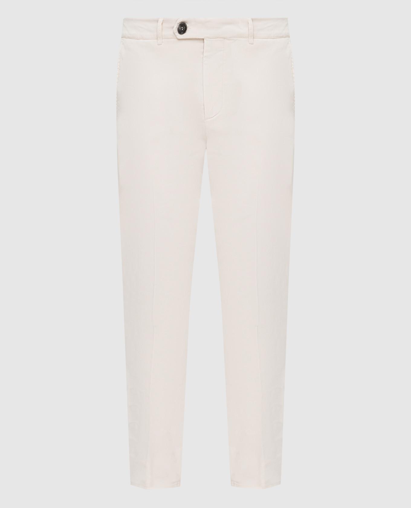 Светло-бежевые брюки с карманами