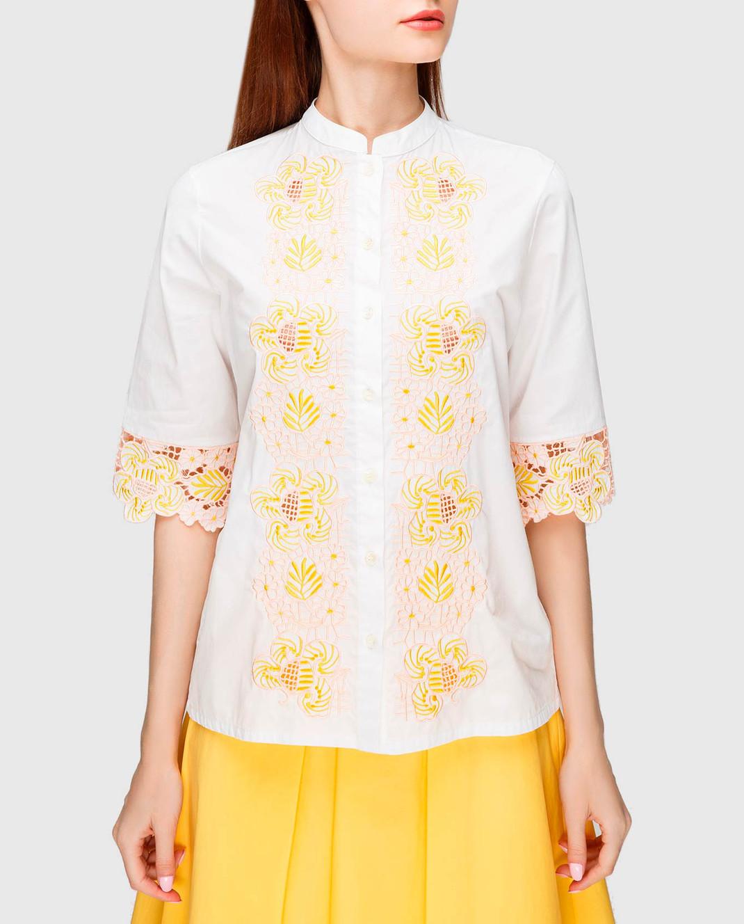 Etro Белая блуза с вышивкой D15180 изображение 3