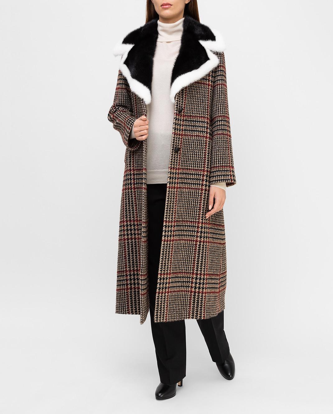 Simonetta Ravizza Бежевое пальто с мехом норки AZZURRA3 изображение 2