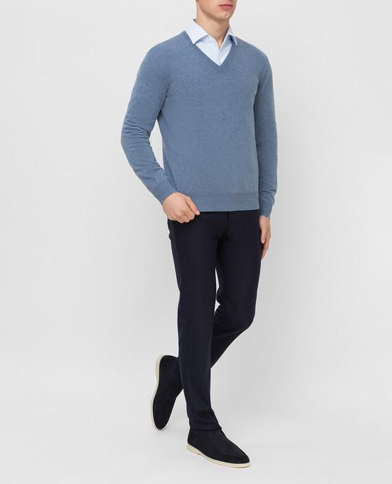 Синий пуловер из кашемира hover