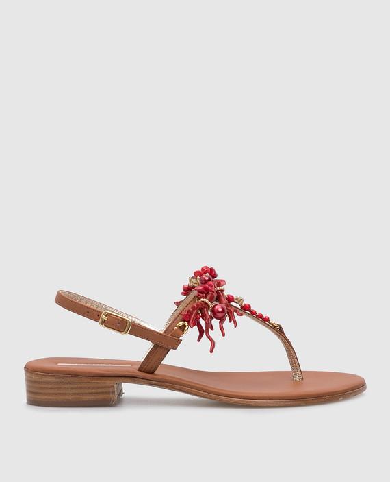 Коричневые кожаные сандалии с кристаллами