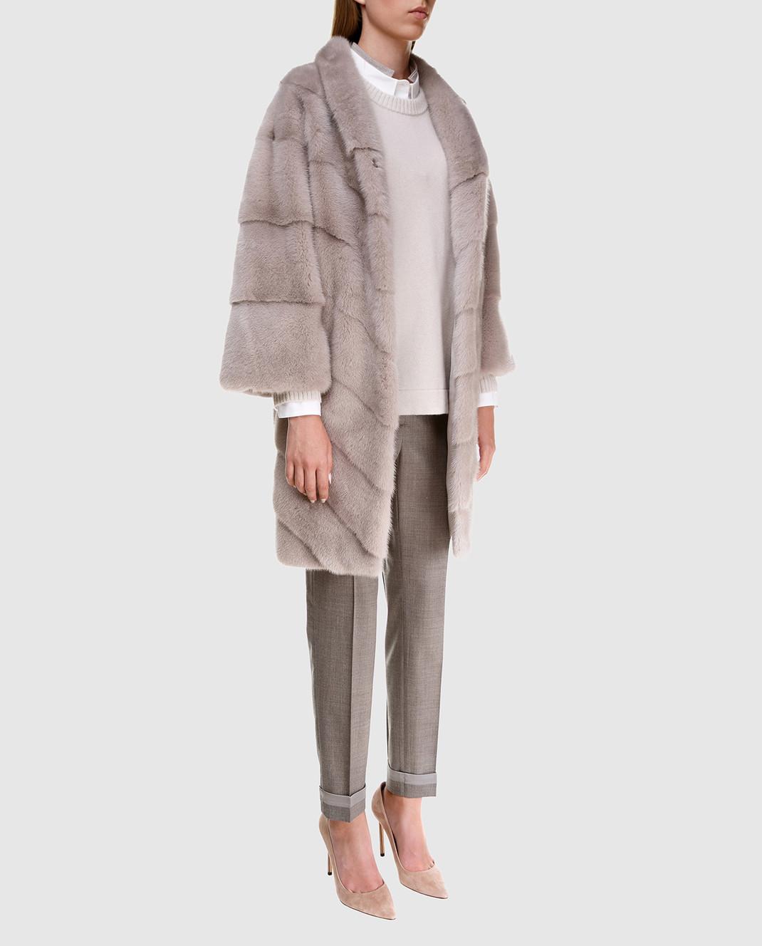 Florence Mode Серая шуба из меха норки с поясом изображение 2
