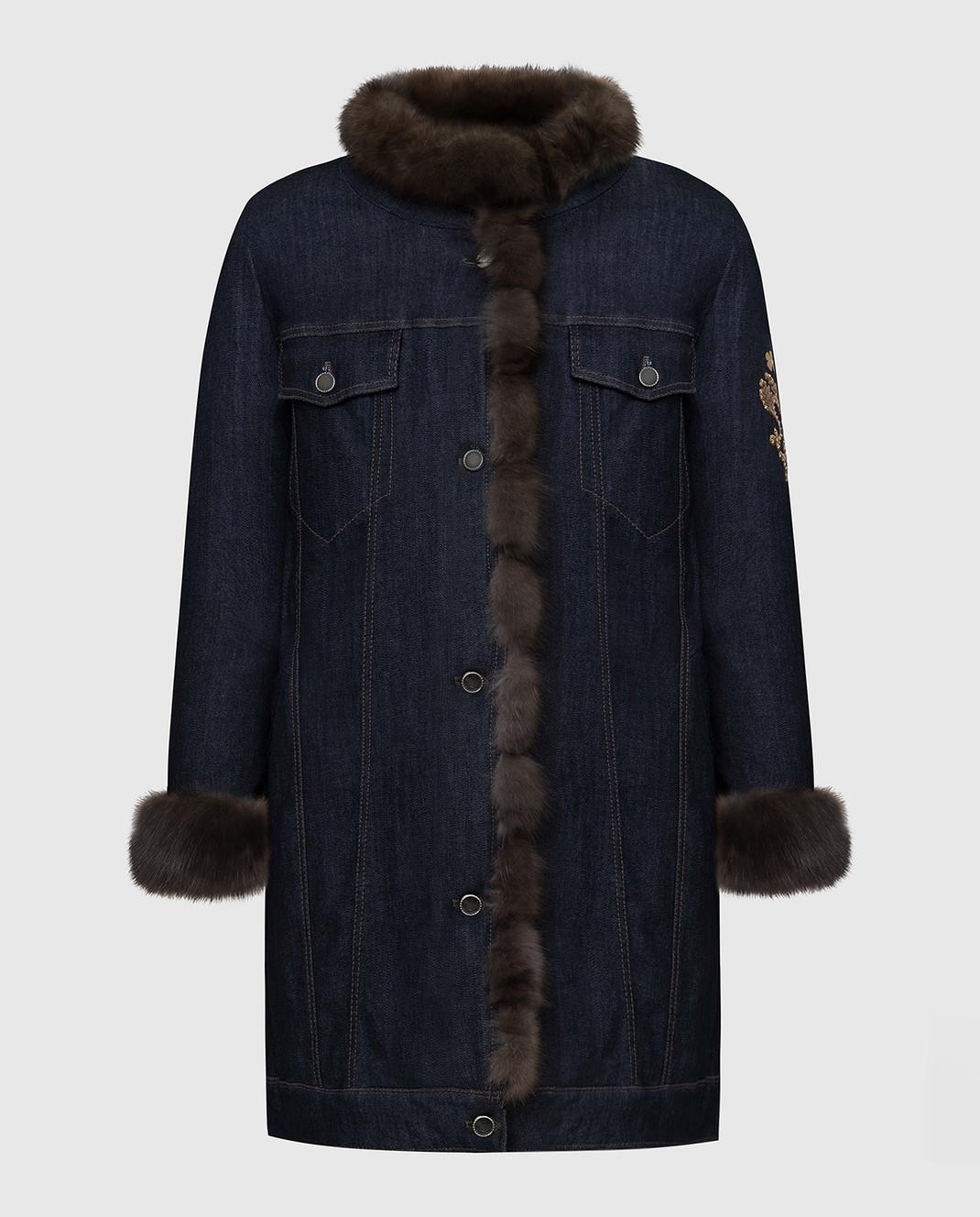 Florence Mode Темно-синяя парка с мехом соболя COMETABIS