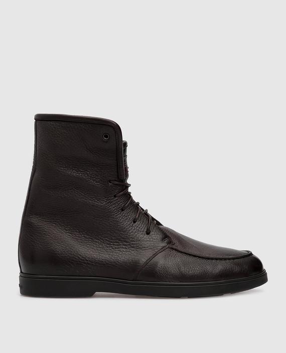 Темно-коричневые кожаные ботинки на меху