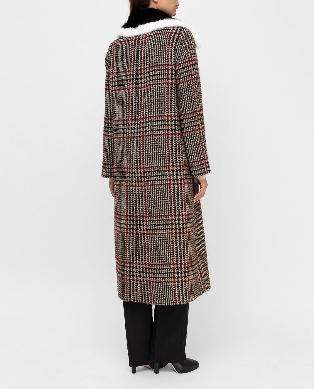 Simonetta Ravizza Бежевое пальто с мехом норки AZZURRA3 изображение 4