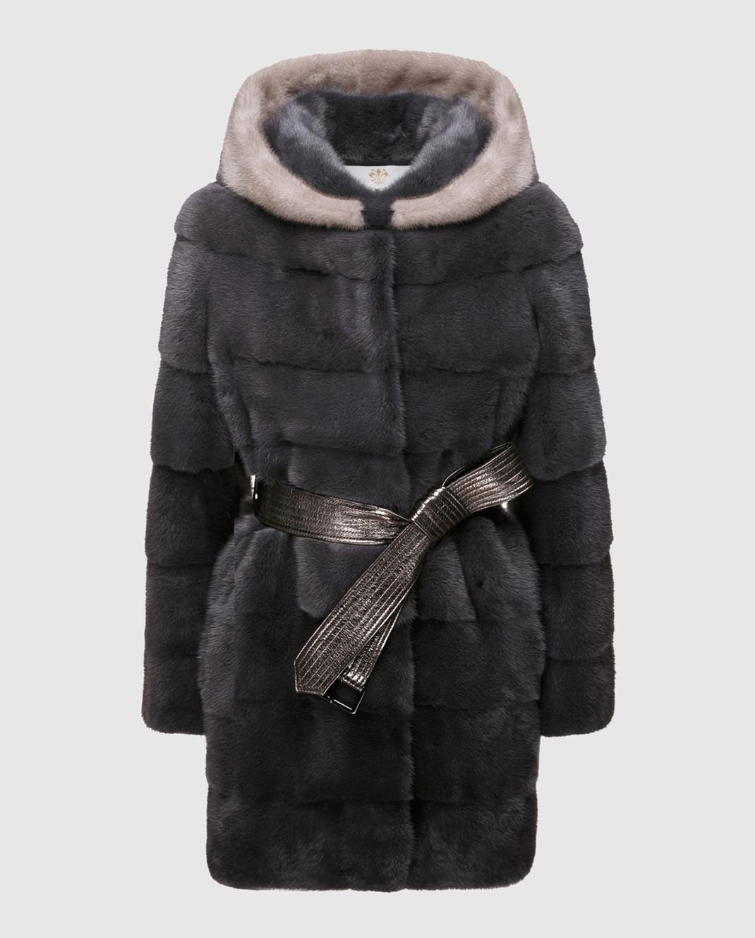 Florence Mode Темно-серая шуба из меха норки с поясом L1827SKYFALL