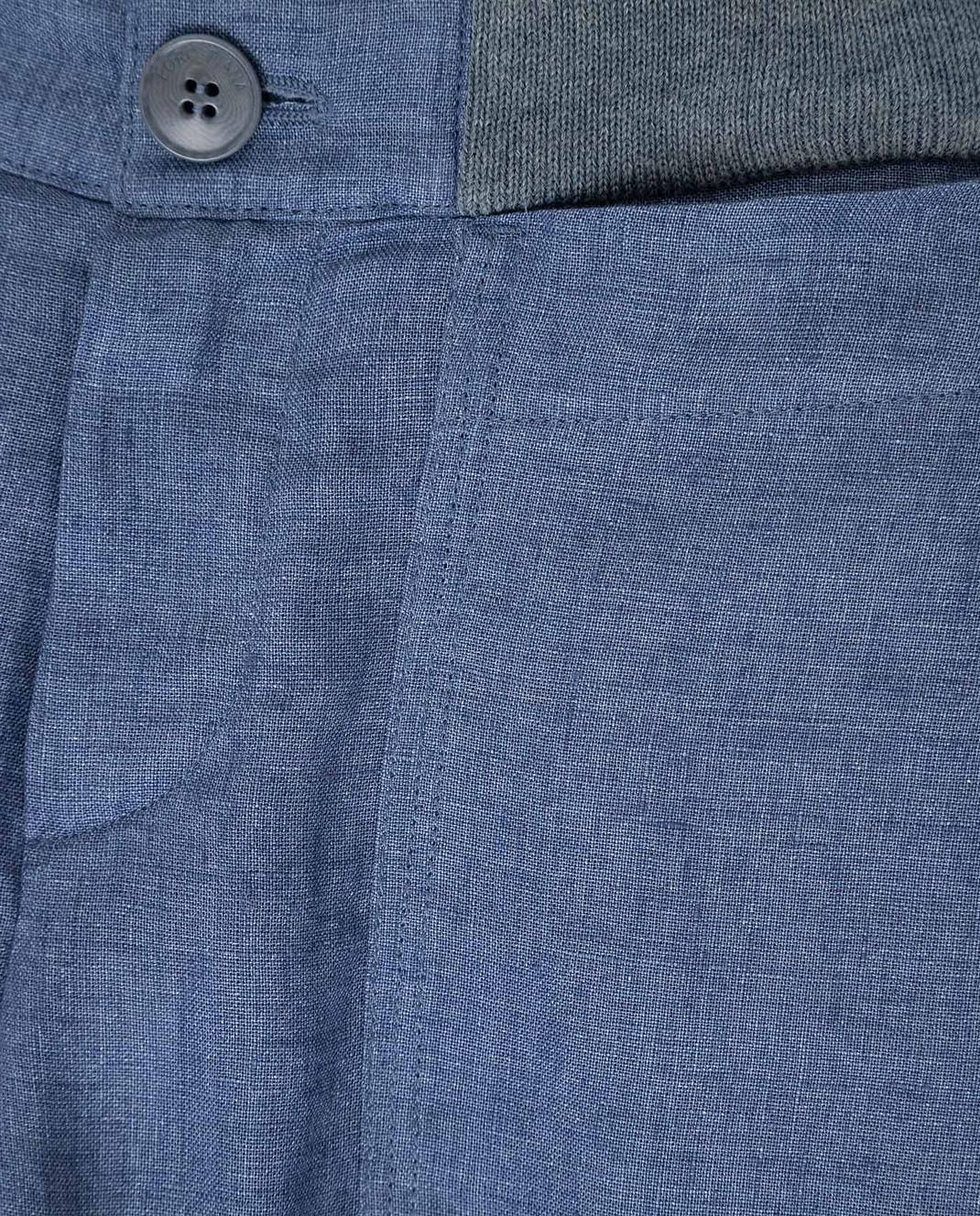 Loro Piana Детские синие брюки из льна F1FAI0756 изображение 3