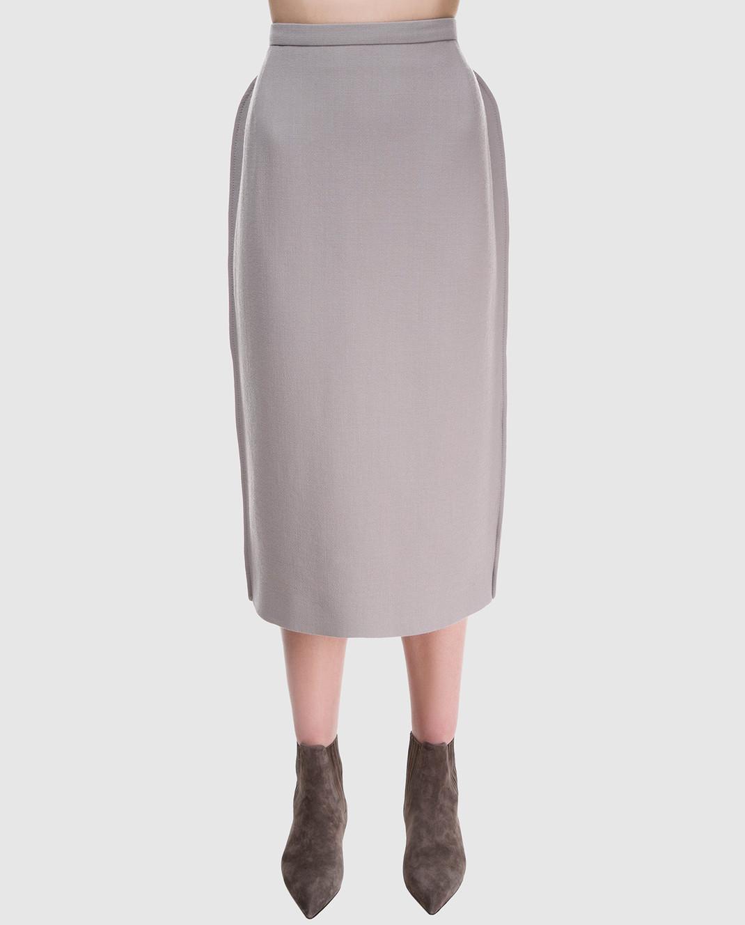 NINA RICCI Серая юбка 18PCJU005WV0230 изображение 3