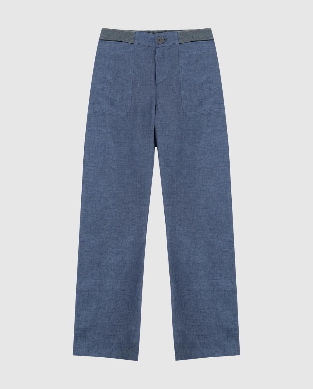 Loro Piana Детские синие брюки из льна F1FAI0756