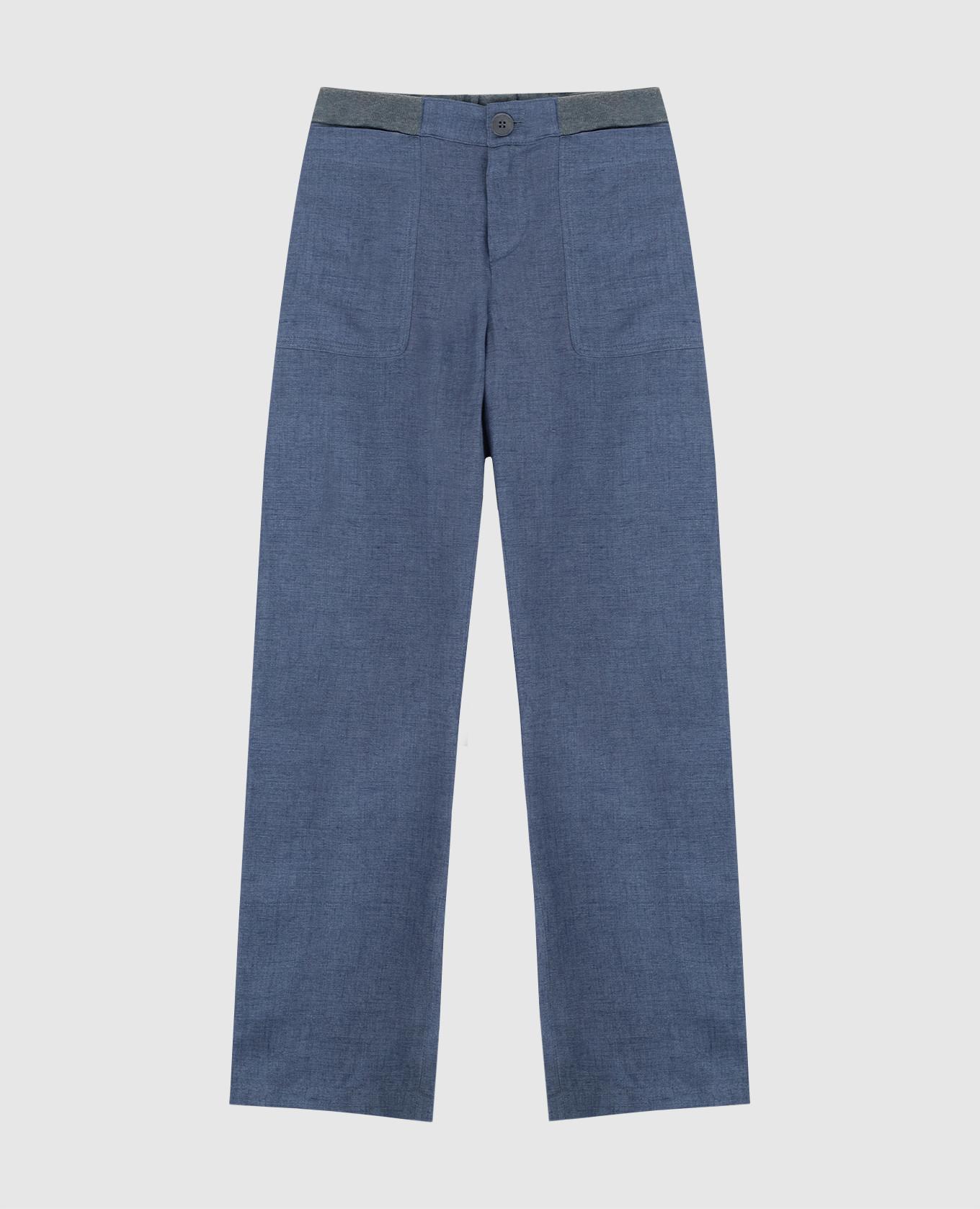 Детские синие брюки из льна