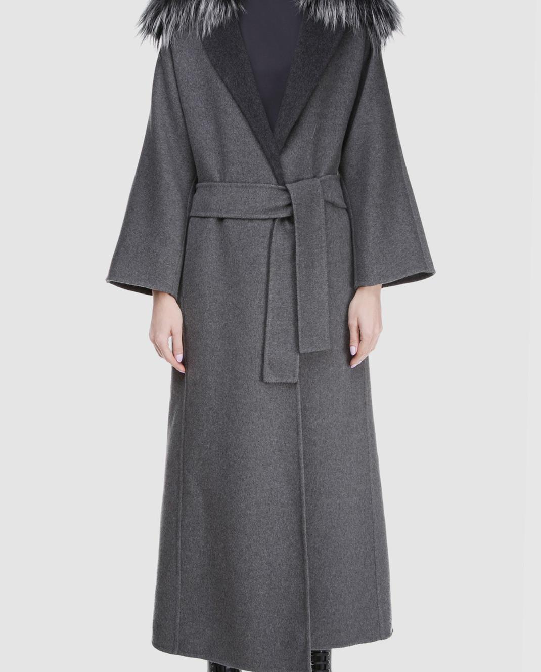 Rindi Серое пальто с мехом 261TE017 изображение 3