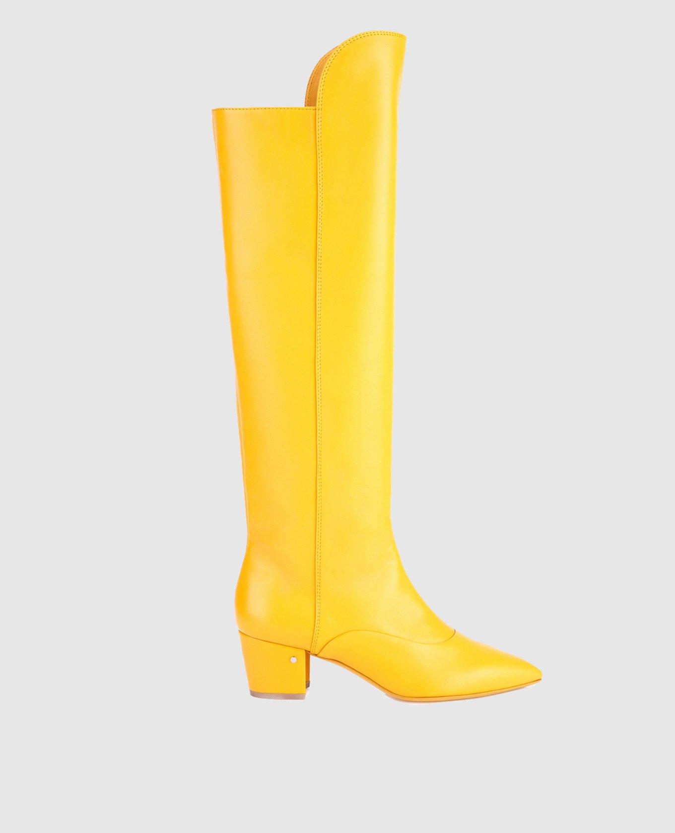 Желтые кожаные сапоги