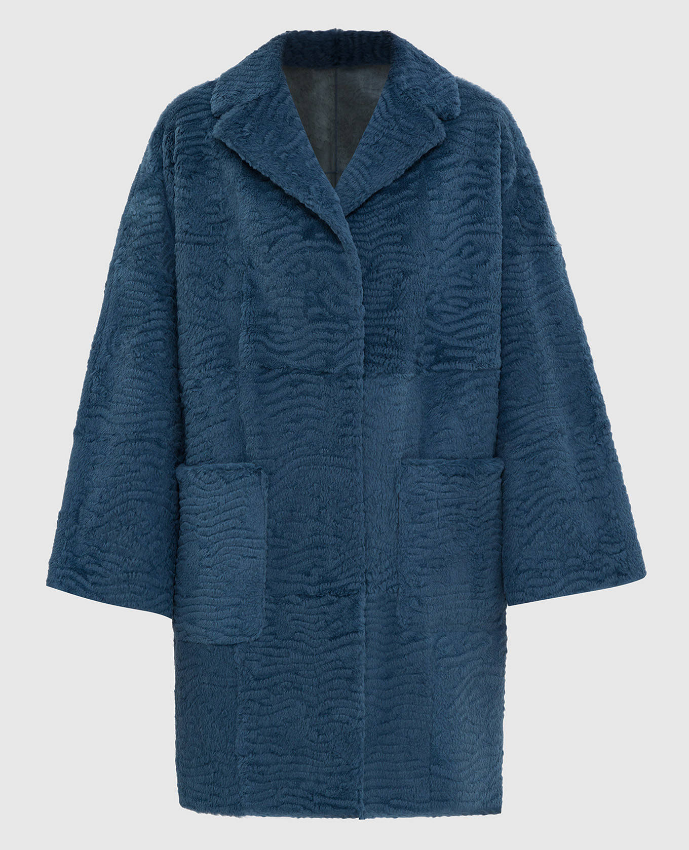 Синее пальто из меха кролика
