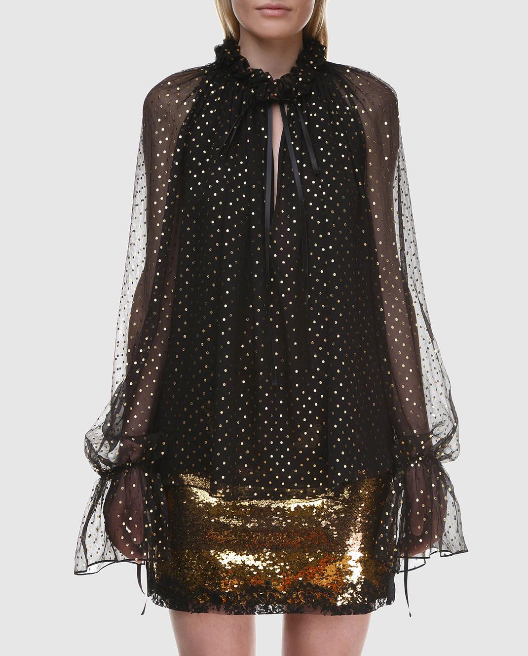 Redemption Черная блуза из шелка 1810RC03TS87 изображение 3
