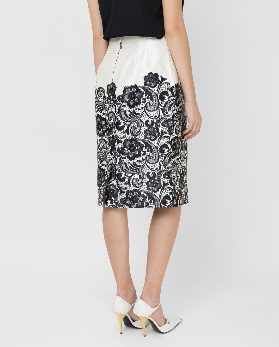 Dolce&Gabbana Светло-бежевая юбка из шелка F4T32TFS1YX изображение 4