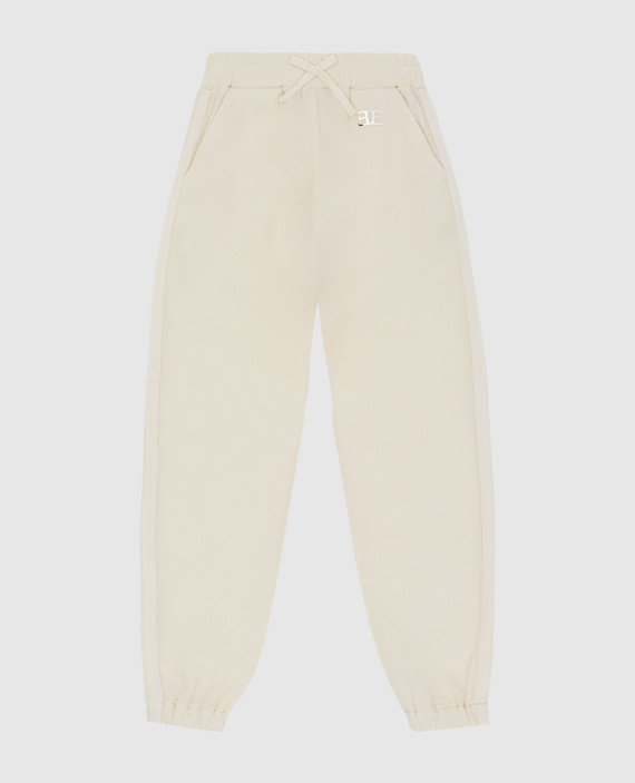 Детские светло-бежевые спортивные брюки из шерсти