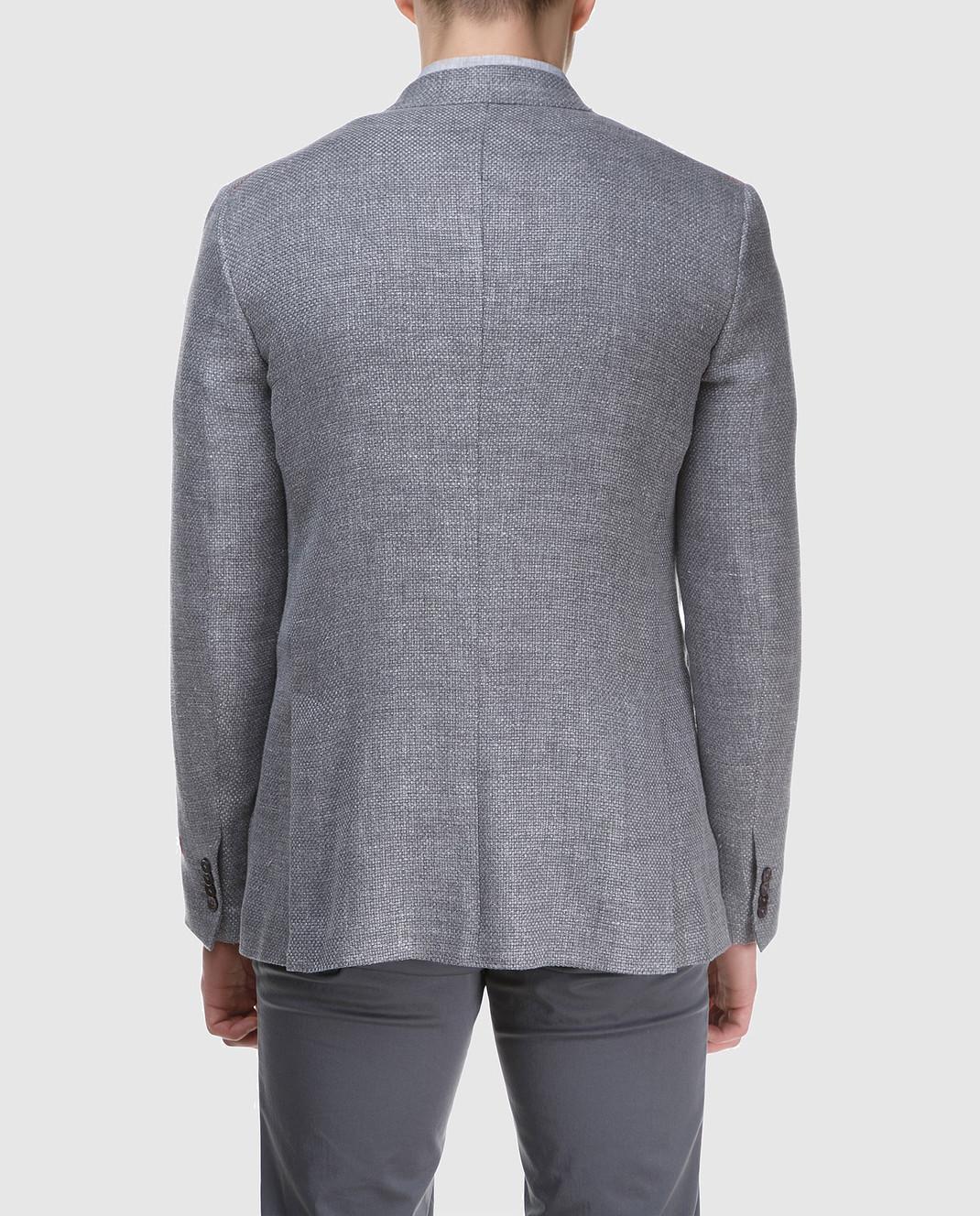 ISAIA Серый блейзер из льна 221GSI84010 изображение 4