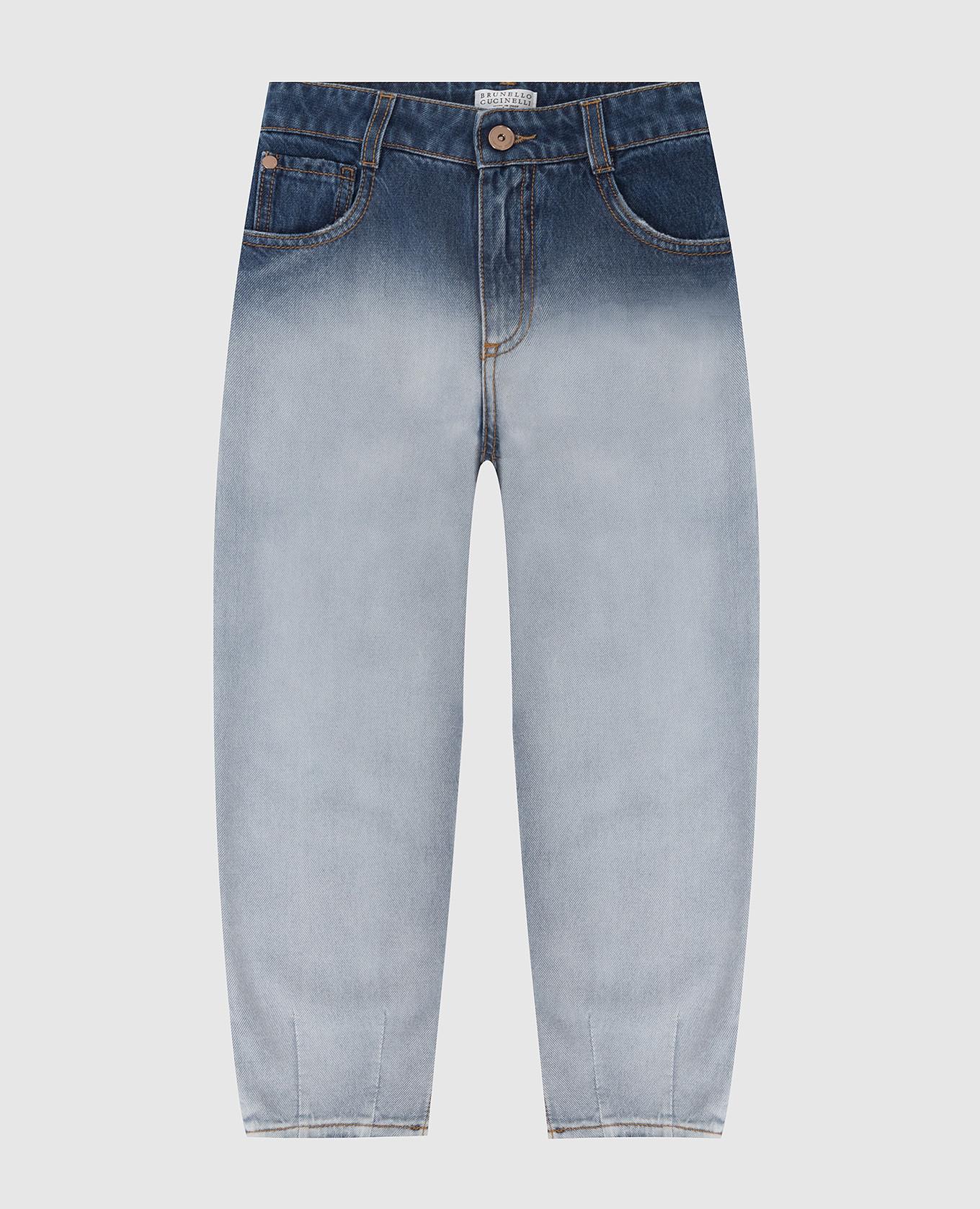 Детские джинсы с эффектом градиента Brunello Cucinelli
