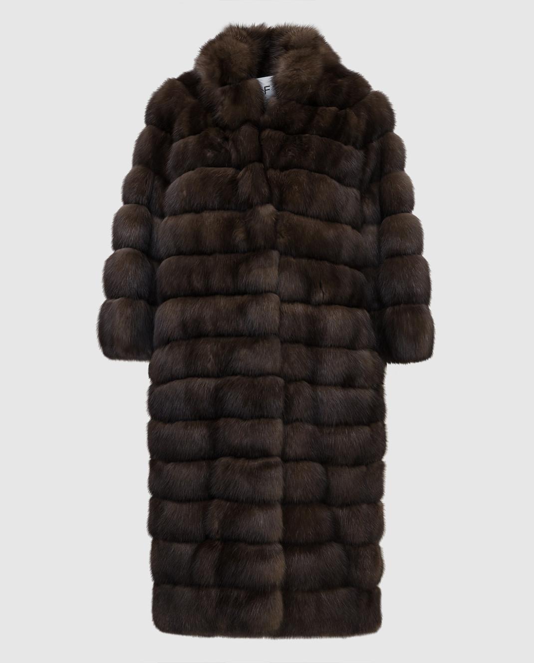 Real Furs House Темно-коричневая шуба из соболя 24342SILVERY