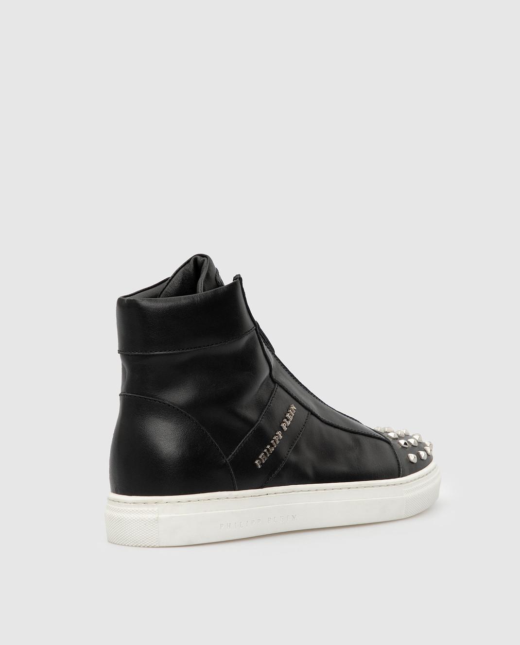 Philipp Plein Детские черные кожаные ботинки BSC0051 изображение 3