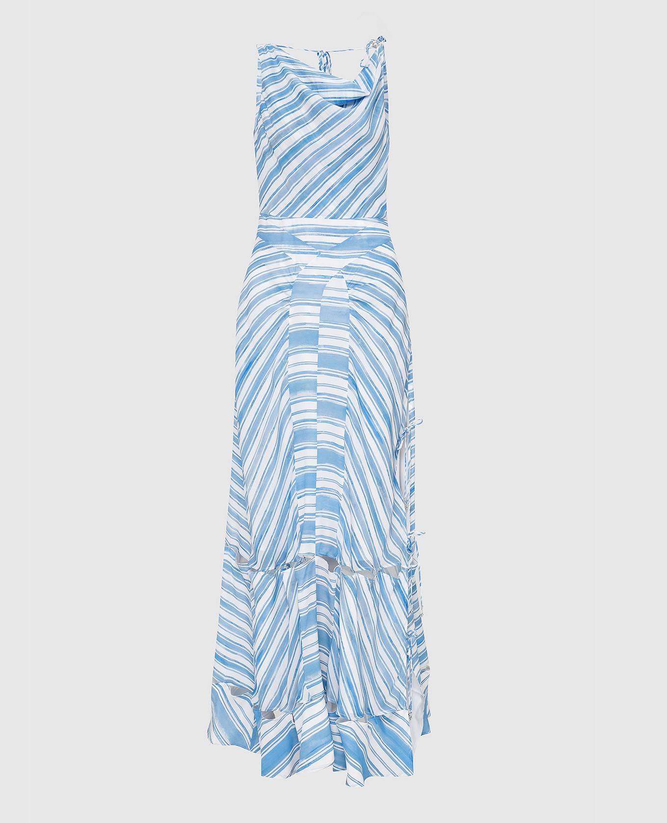 Голубое платье из шелка