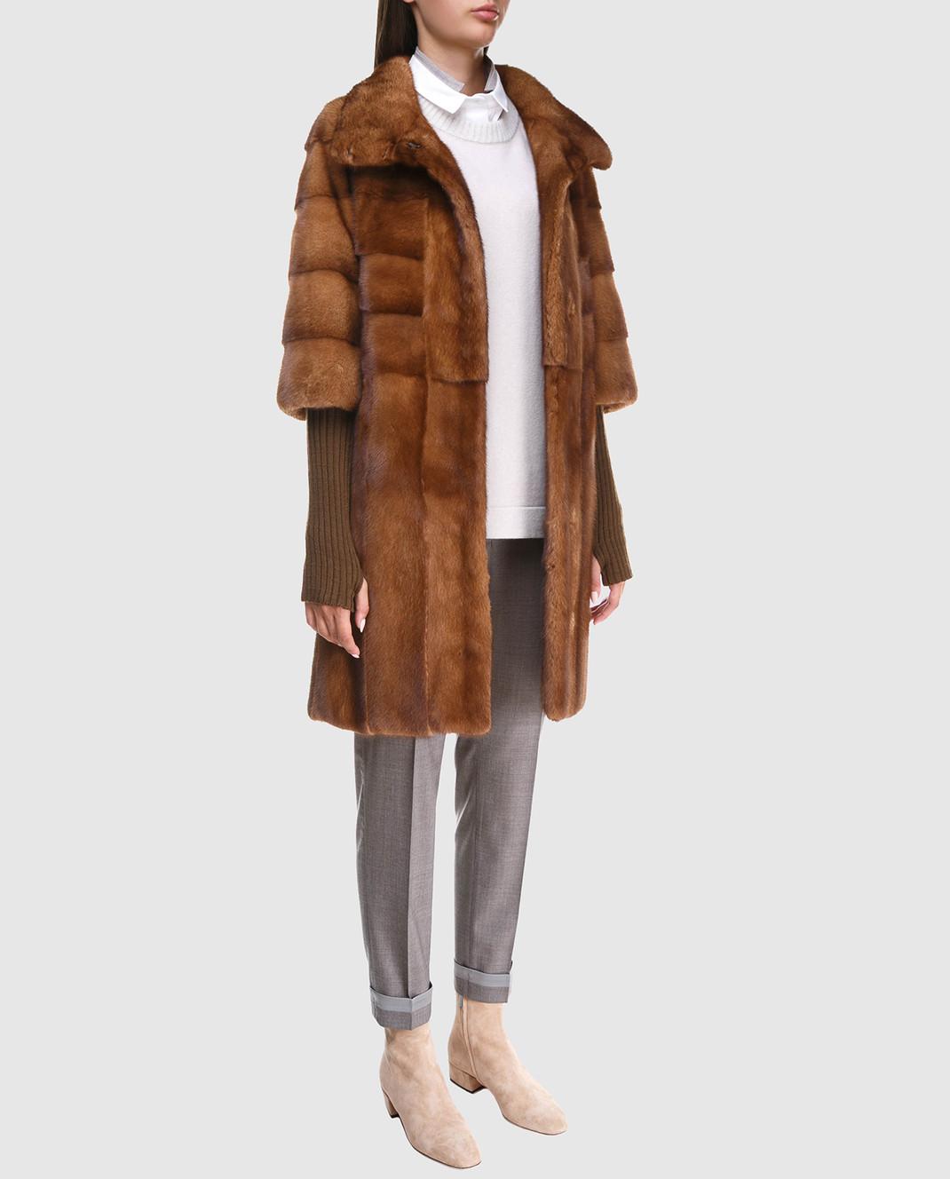 Florence Mode Коричневая шуба из меха норки с поясом и митенками изображение 2