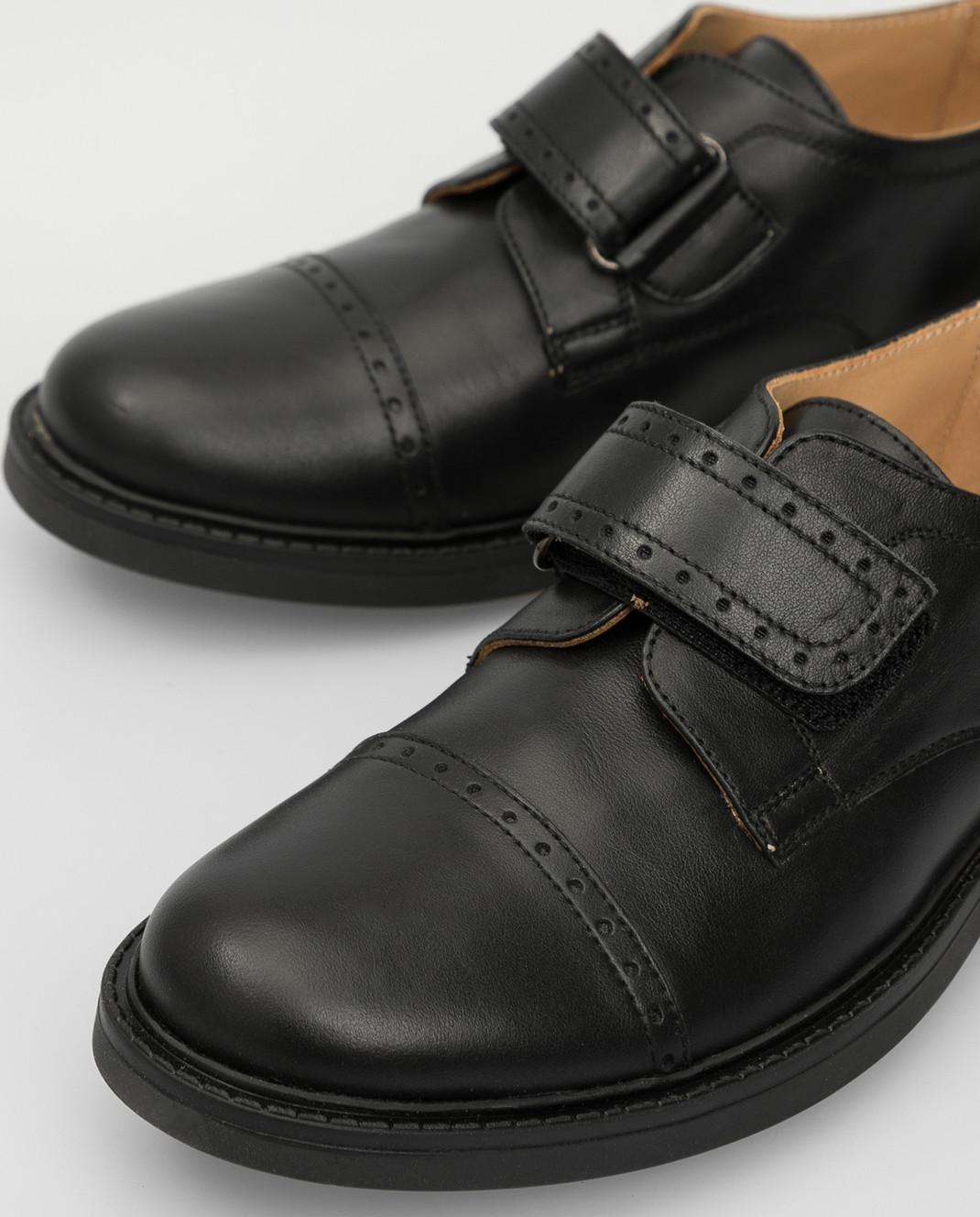 Zecchino D'oro Детские черные кожаные дерби M1575023640 изображение 4