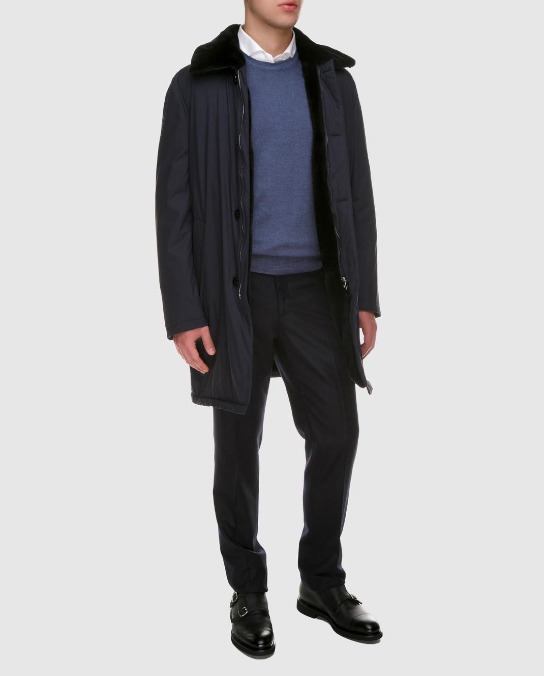 Enrico Mandelli Синее пальто из шелка со съёмным воротником из меха нутрии A6T766 изображение 2