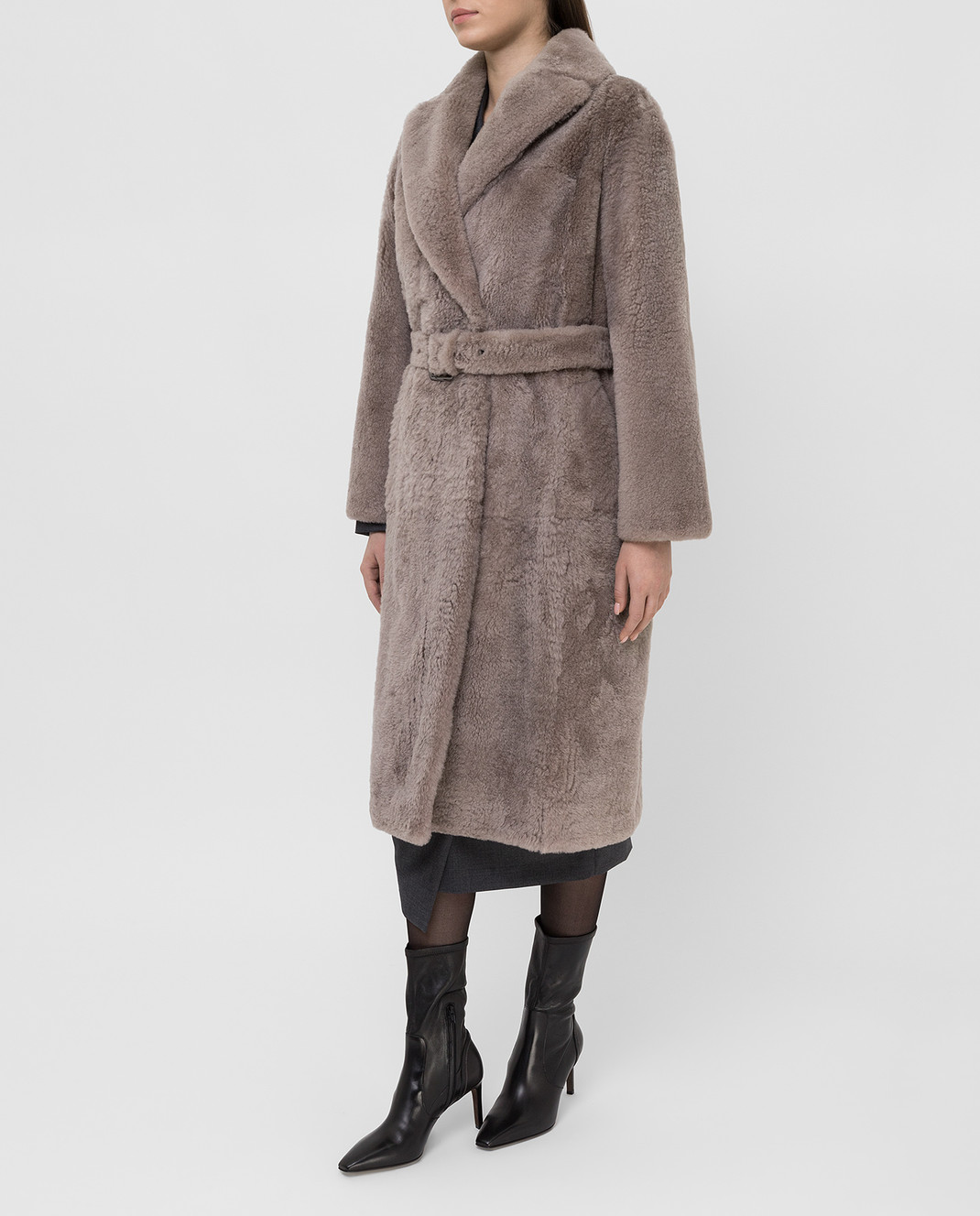 Brunello Cucinelli Бежевое меховое пальто изображение 3