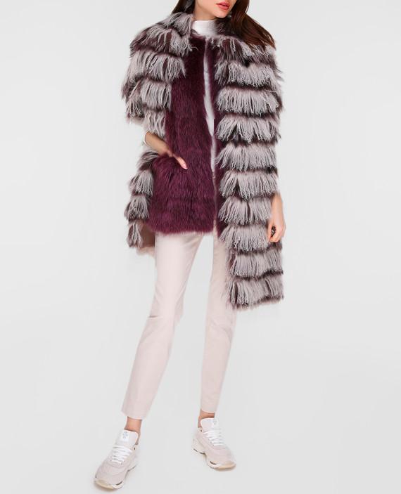 Серый шарф из меха ламы и лисы hover