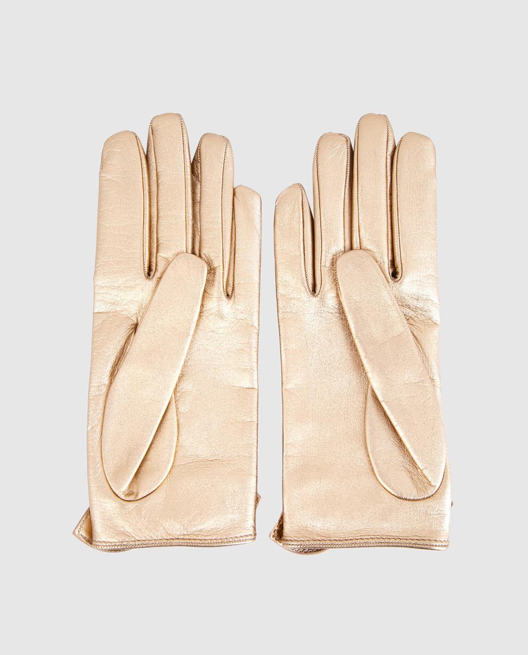 Gucci Золотистые кожаные перчатки с бантами 477968DI900 изображение 2