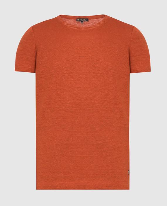Терракотовая футболка из льна