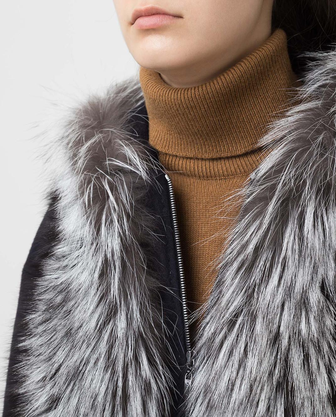 Via Cappella Темно-синее пальто из кашемира с мехом лисы P11785CASHMERE изображение 5
