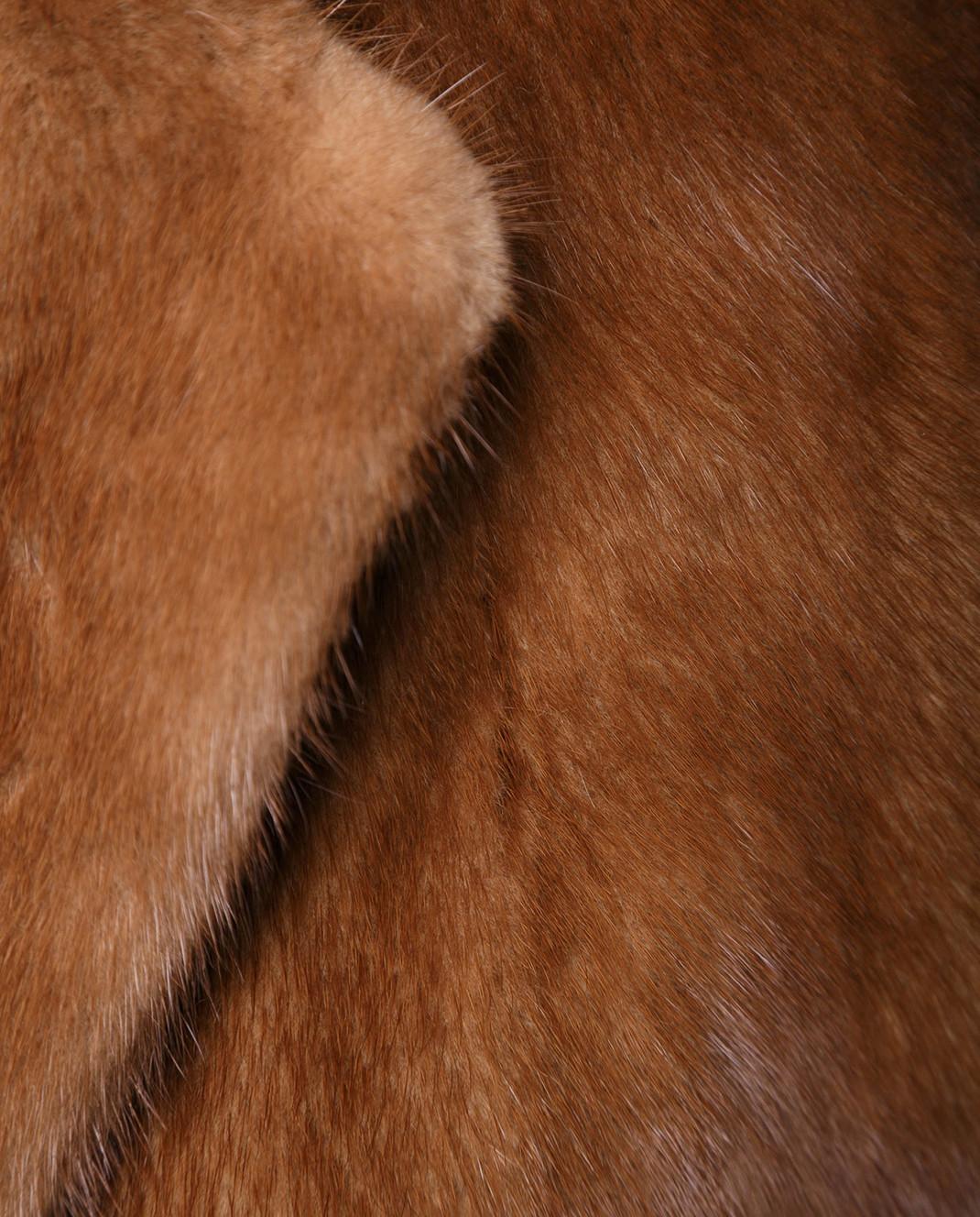 Florence Mode Коричневая шуба из меха норки с поясом 17N233 изображение 5