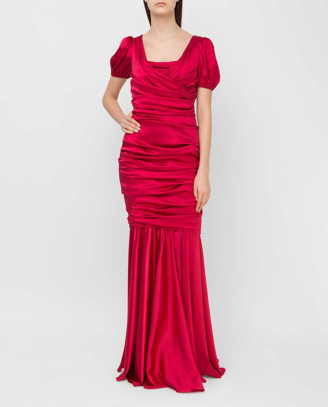 Dolce&Gabbana Красное платье из шелка F62B2TFURAG изображение 2