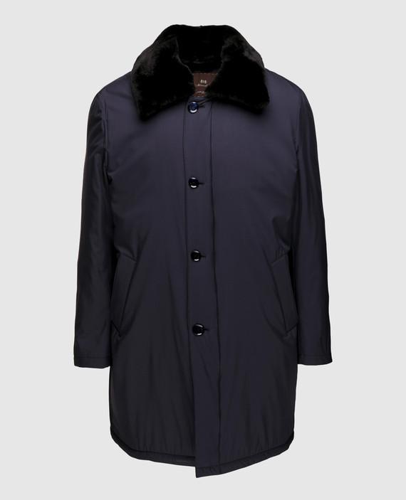 Синее пальто из шелка со съёмным воротником из меха нутрии