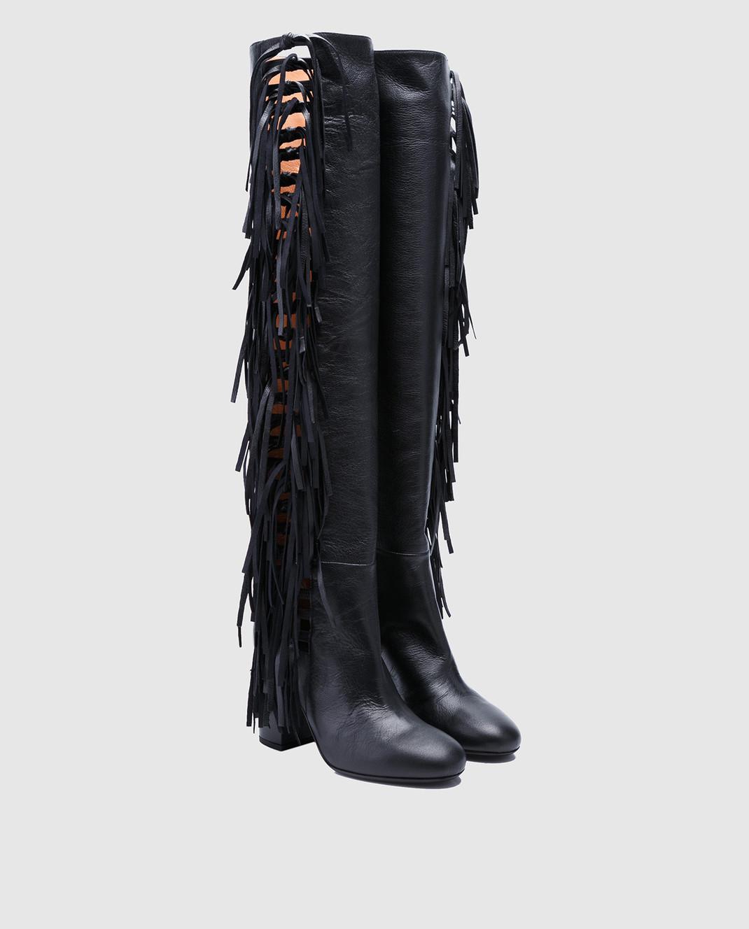 Laurence Dacade Черные кожаные ботфорты Sybille SYBILLE изображение 2