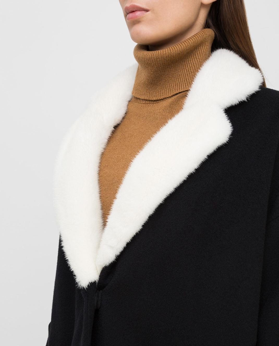 Via Cappella Черное пальто из кашемира с мехом норки C1017CASHMEREBLCOLLARM изображение 5