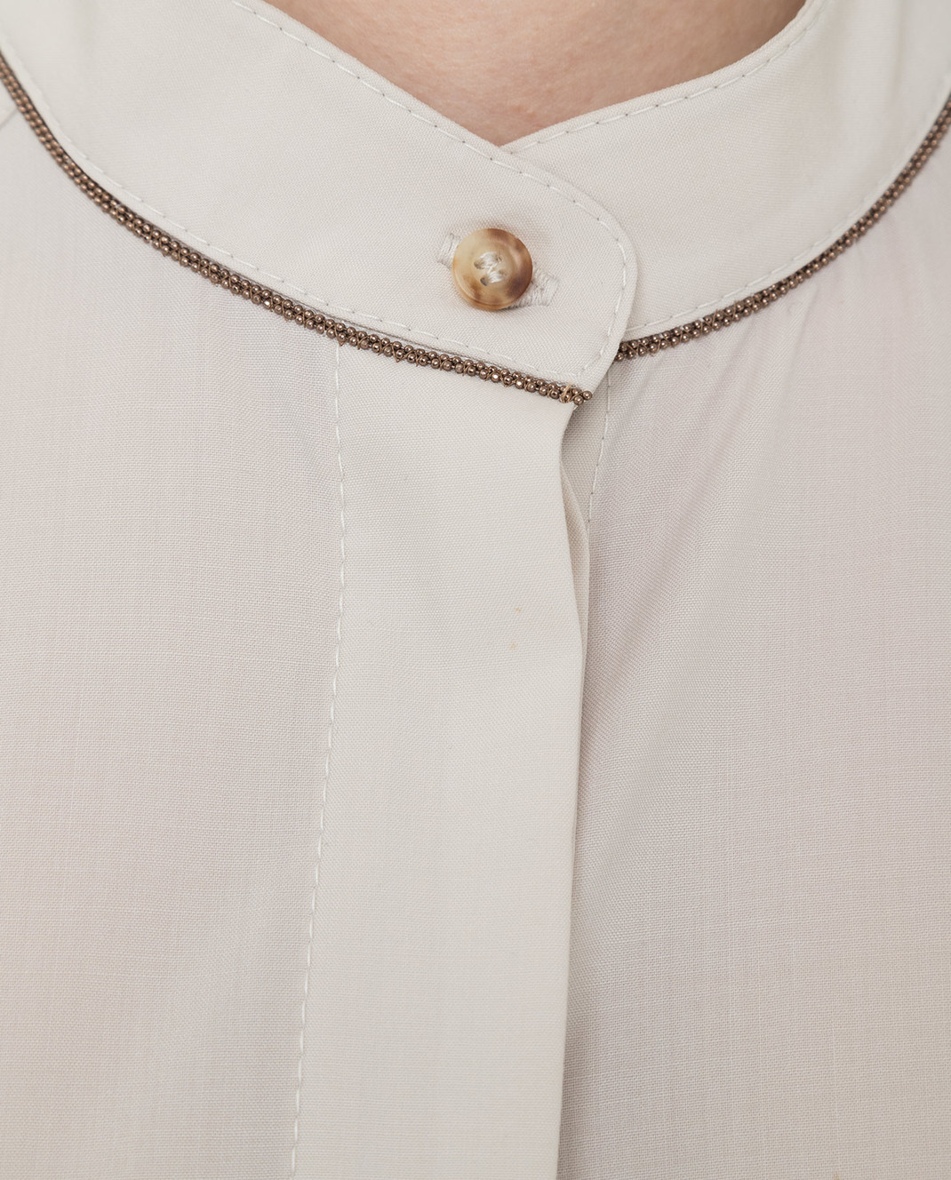 Brunello Cucinelli Светло-бежевое платье из шерсти изображение 5