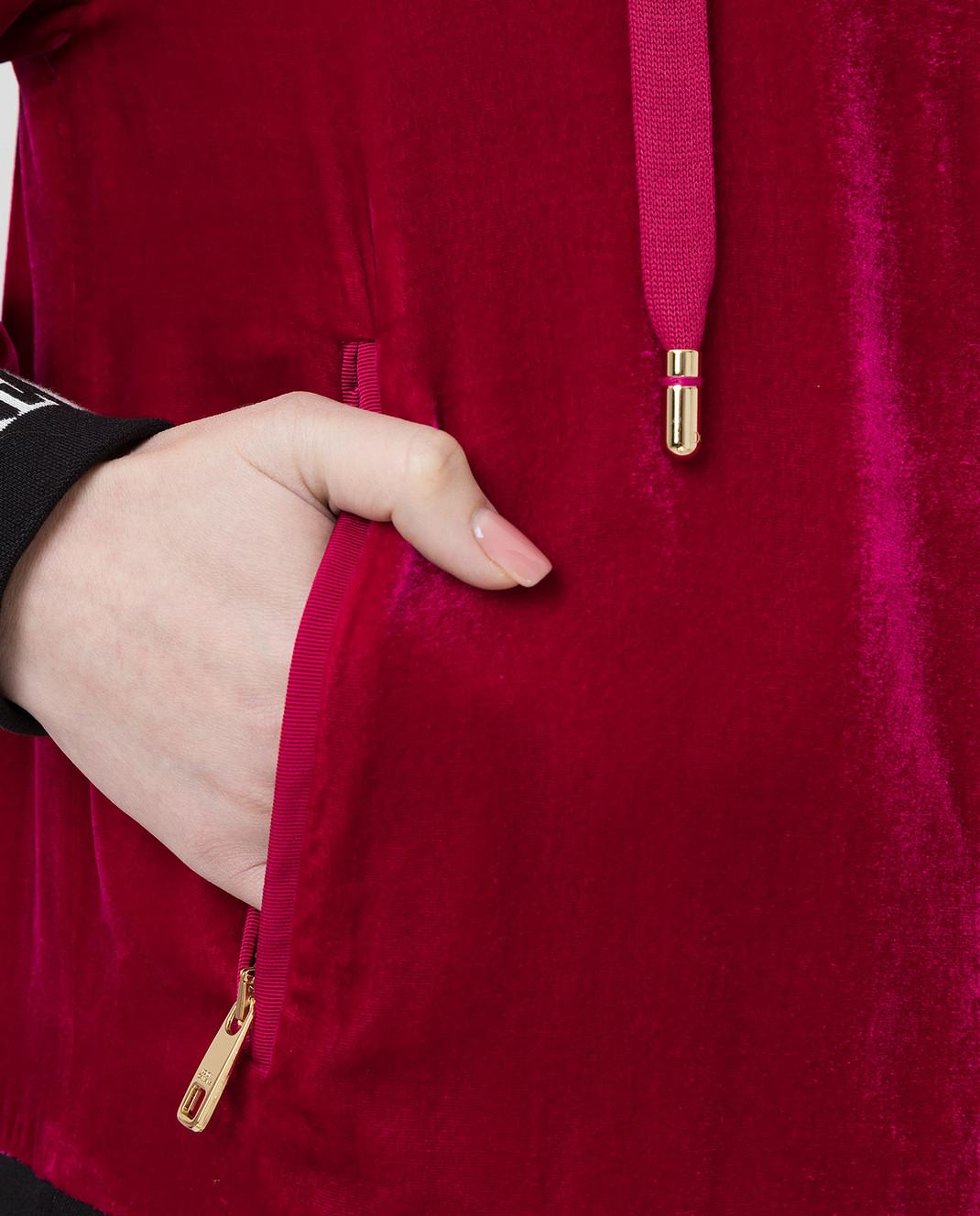 Dolce&Gabbana Бордовая бархатная спортивная кофта F9H02TG7VDM изображение 5