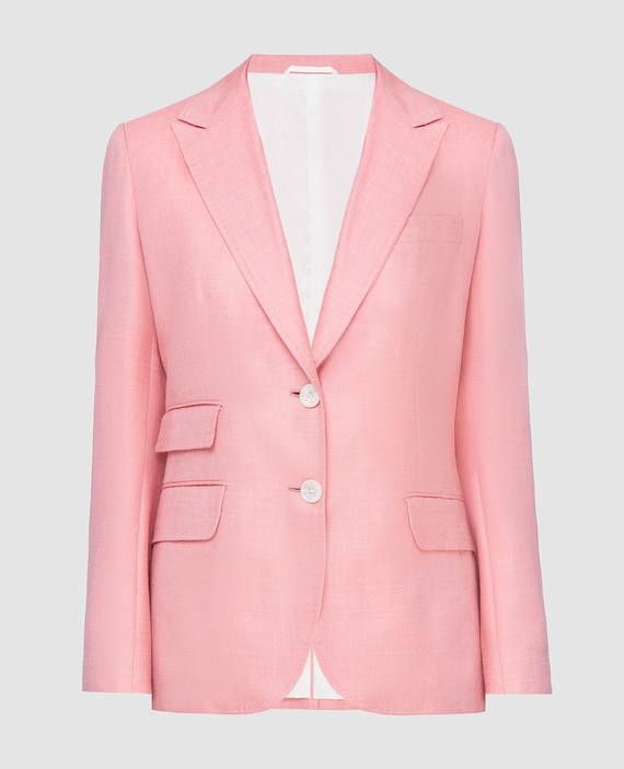 Розовый жакет из кашемира, льна и шелка