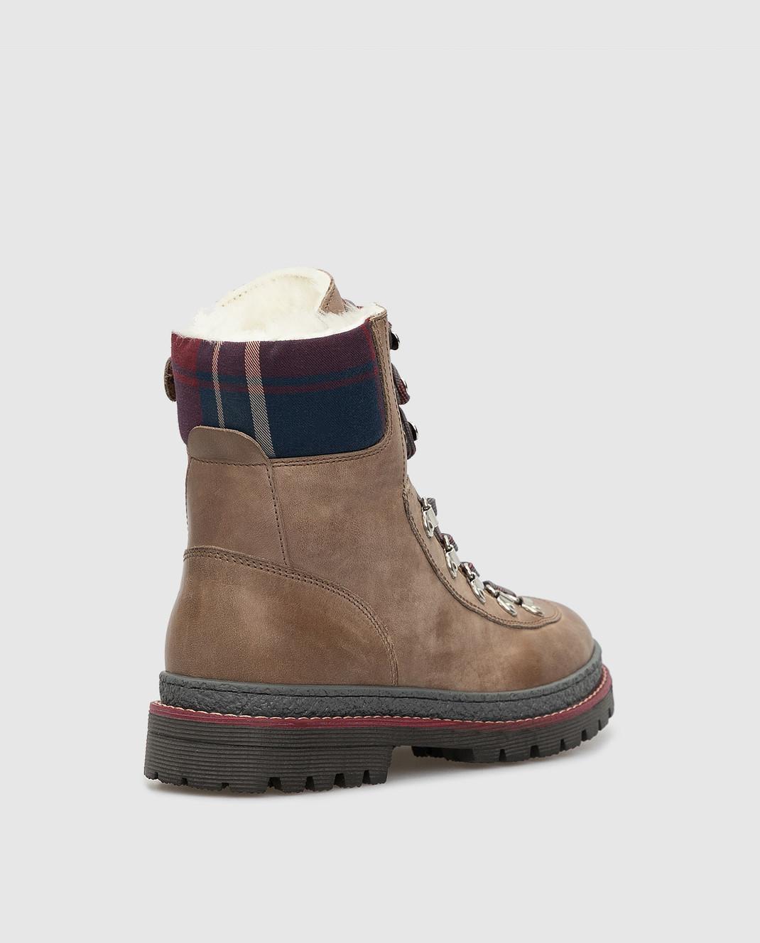 Brunello Cucinelli Детские бежевые кожаные ботинки изображение 3
