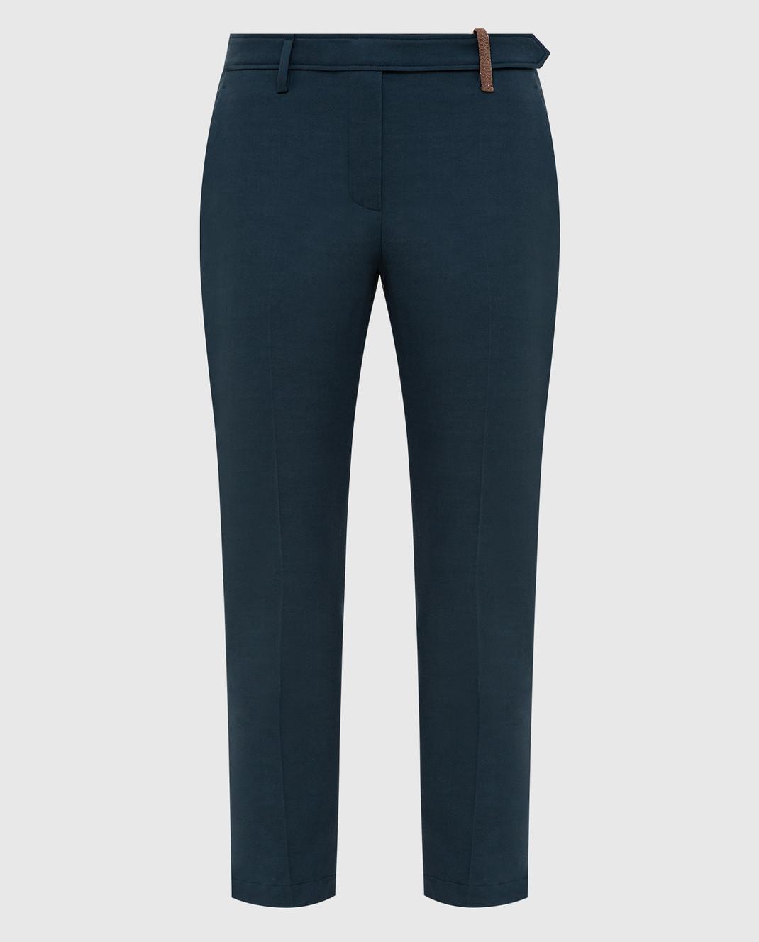 Brunello Cucinelli Темно-бирюзовые брюки изображение 1